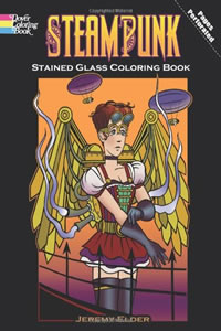 Steampunk Stained Glass Coloring Book by Jeremy Elder