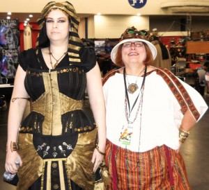 Egyptian Steampunk - Maeve Alpin with an attendee of her Steampunk Egyptology panel